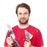 Manual worker with wall plastering tools isolated on white Royalty Free Stock Photography
