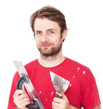 Manual worker with wall plastering tools isolated on white. Portrait of happy smiling caucasian forty years old manual worker with wall plastering tools isolated royalty free stock photos