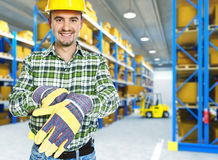 Manual worker in a warehouse Royalty Free Stock Photo