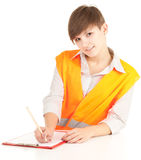 Manual worker woman writing on clipboard Royalty Free Stock Images