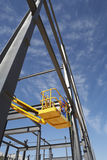 Manual Worker Working From Cherry Picker. On steel framing structure stock photos