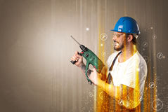 Manual worker with wrench symbol. Royalty Free Stock Image