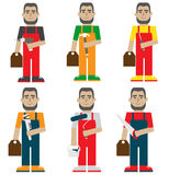 Manual workers set – flat vector illustration Royalty Free Stock Images
