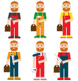 Manual workers set – flat vector illustration Stock Image