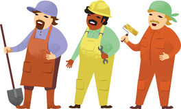 Manual workers. Three cartoon manual workers proffesional occupation Stock Photos