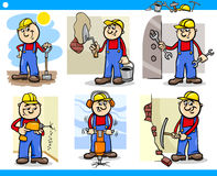 Manual workers or workmen characters set. Cartoon Illustration of Funny Manual Workers or Workmen at Work Characters Set Stock Image