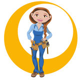 Manual working woman. Smiling and with their working tools royalty free illustration