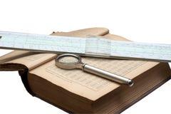 Manuale di matematica, della lente d'ingrandimento e di un isola di regolo calcolatore Immagine Stock
