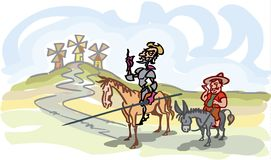 Don Quixote with Sancho Panza with the windmills, a simple illustration. Manually generated, hand drawn vintage tale characters, to depict the famous figures in Stock Images
