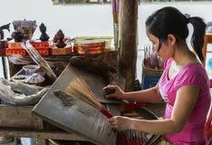 Manually making incense sticks. Stock Image