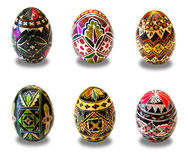 Manually painted Easter eggs set Royalty Free Stock Photos