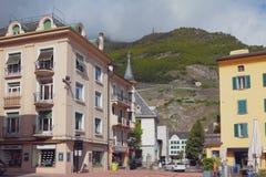 Manuar Street Rue du Manoir Martigny, Valais, Svizzera Fotografia Stock Libera da Diritti