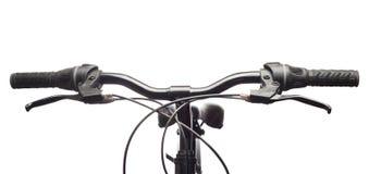 Manubri di una bicicletta della montagna. Isolato Immagini Stock Libere da Diritti
