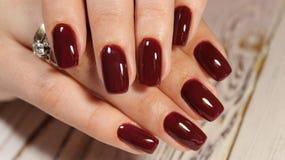 Manucure rouge sexy images libres de droits