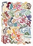 Manueel getrokken abstract patroon, de tekens van de kleurenborstel op witte basis Royalty-vrije Stock Foto