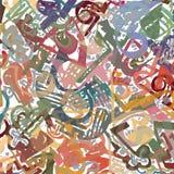 Manueel getrokken abstract patroon met digitaal gekleurde details die, op witte basis overlappen Stock Foto's