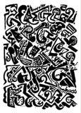 Manueel getrokken abstract patroon, zwarte borsteltekens op witte basis Stock Afbeeldingen