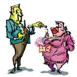 Manueel getrokken humoristische illustratie, waar twee mensen, een grote dame en een kelner op elkaar inwerken Stock Afbeeldingen