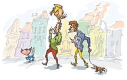 Manueel getrokken humoristische illustratie, waar twee mensen hun huisdieren, in stadsscène lopen Royalty-vrije Stock Foto's