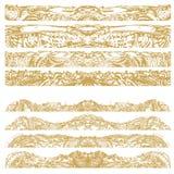 Manueel getrokken traditionele decoratieve patroondetails, digitaal remastered, in gouden kleur Royalty-vrije Stock Foto's