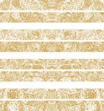 Manueel getrokken traditionele decoratieve patroondetails, digitaal remastered, in gouden kleur Stock Foto
