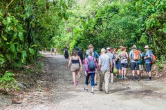 MANUEL ANTONIO, COSTA RICA - MAY 13, 2016: Crowds of tourists in National Park Manuel Antonio, Costa Ri. Ca stock photography