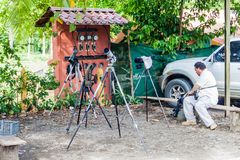 MANUEL ANTONIO, COSTA RICA - MAY 13, 2016: Telescopes of nature guides by the gate to the National Park Manuel Antonio. Costa Rica royalty free stock photos