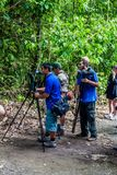 MANUEL ANTONIO, COSTA RICA - MAY 13, 2016: Tourists and nature guides in the National Park Manuel Antonio, Costa Ri. Ca royalty free stock image