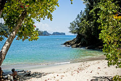 Manuel Antonio National Park. Sand beach in the Manuel Antonio National Park in Costa Rica royalty free stock photos