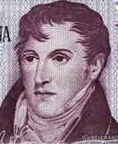 Manuel Belgrano hace frente al retrato en cierre de los Pesos 1976 de la Argentina 10 Foto de archivo libre de regalías