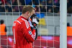 Manuel Neuer Dopasowanie między FC Shakhtar vs FC Bayern mistrz ligii Zdjęcie Royalty Free