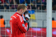 Manuel Neuer. Match between FC Shakhtar vs FC Bayern. Champions League Royalty Free Stock Photo
