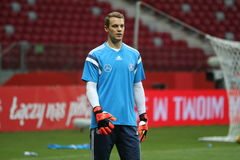 Manuel Neuer. WARSAW, POLAND - OCTOBER 10, 2014: Manuel Neuer, German national football team and Bayern Munich goalkeeper at the last training before the UEFA stock image