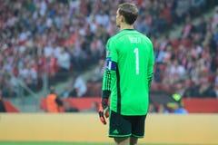 Manuel Neuer. WARSAW, POLAND - OCTOBER 11, 2014: Manuel Neuer (German team and Bundesliga club Bayern Munich goalkeeper) during the UEFA EURO 2016 qualifying royalty free stock images