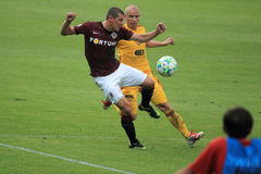 Manuel Pamic and Pavel Hasek. Manuel Pamic from Sparta Prague and Pavel Hasek from Dukla Prague in the 1th round of czech football league match between Dukla stock photos