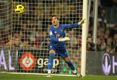 Manuel Reina of Levante. During a Spanish League match between FC Barcelona and UD Levante at the Nou Camp Stadium on January 2, 2011 in Barcelona, Spain royalty free stock photography