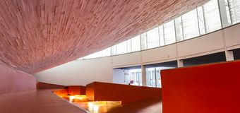 Manuel Rojas Congress Center, Badajoz, Spain. Hall Interior. Badajoz, Spain - October 22, 2017: Congress Center Manuel Rojas, designed by Jose Selgas and Lucia Stock Photo