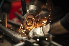 Worker Grinding Metal royalty free stock photos