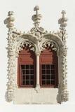 Manueline fönster, nationell slott av Sintra Arkivfoton
