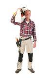 Manuell arbetare med den tunga verktygslådan Fotografering för Bildbyråer