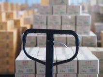 Manuell gaffeltruckpalett med asken i ett stort lager i lager Royaltyfria Bilder