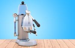 Manuell retro design för kaffebryggare- eller kaffemaskin på det trä royaltyfri fotografi