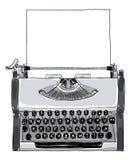 Manuell skrivmaskinstappning som är svartvit med pappers- konstpai Arkivbild