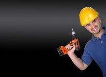 manuelle Arbeitskraft mit Bohrgerät Stockfotos