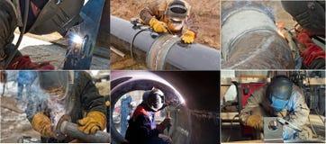 Manuelles Elektroschweißen von Rohrspulen und -rohrleitungen Stockfotografie