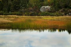Manuels River walking trail. Conception Bay South, Newfoundland and Labrador, Canada. Autumn colors and reflections on the river trail stock photography