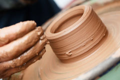Manufacture of articles made of clay Stock Images