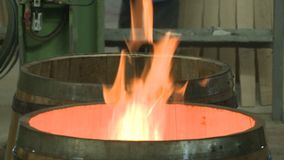 Manufacture of barrels stock video footage