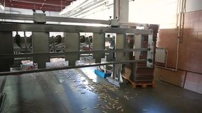 Manufacture of cardboard boxes. stock video