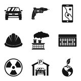 Manufacture of component icons set, simple style Royalty Free Stock Images